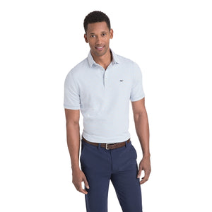 Vineyard Vines Men's Heathered Wilson Stripe Sankaty Performance Polo 1K2202 Dark Cerulean
