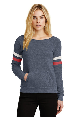 alternative apparel eco true navy/ eco ivory/ eco true red aa9583 custom dri fit sweatshirts