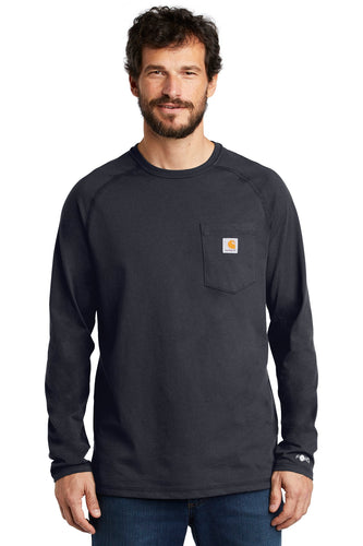 Company Logo Carhartt Force Cotton Delmont Long Sleeve T-Shirt CT100393 Navy