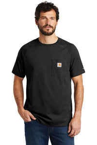 Company Logo Carhartt Force Cotton Delmont Short Sleeve T-Shirt CT100410 Black