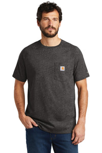 Company Logo Carhartt Force Cotton Delmont Short Sleeve T-Shirt CT100410 Carbon Heather