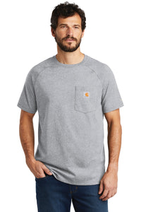 Company Logo Carhartt Force Cotton Delmont Short Sleeve T-Shirt CT100410 Heather Grey