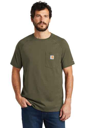 Company Logo Carhartt Force Cotton Delmont Short Sleeve T-Shirt CT100410 Moss