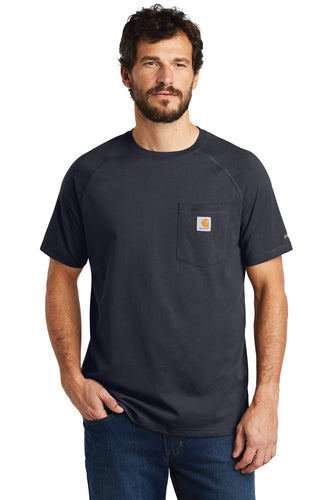Company Logo Carhartt Force Cotton Delmont Short Sleeve T-Shirt CT100410 Navy