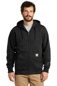 Custom Carhartt Rain Defender Paxton Heavyweight Hooded Zip-Front Sweatshirt CT100614 Black
