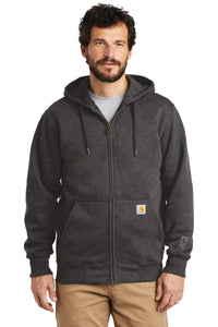 Custom Carhartt Rain Defender Paxton Heavyweight Hooded Zip-Front Sweatshirt CT100614 Carbon Heather