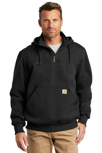 Custom Carhartt Rain Defender Paxton Heavyweight Hooded Zip Mock Sweatshirt CT100617 Black