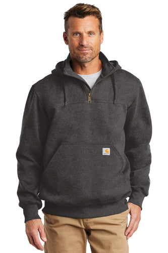 Custom Carhartt Rain Defender Paxton Heavyweight Hooded Zip Mock Sweatshirt CT100617 Carbon Heather