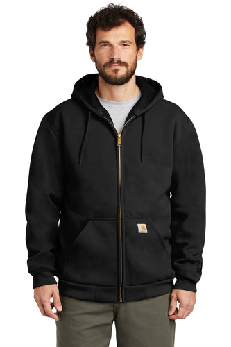carhartt rain defender rutland thermal-lined hooded zip-front sweatshirt ct100632 black