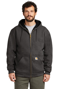 carhartt rain defender rutland thermal-lined hooded zip-front sweatshirt ct100632 carbon heather