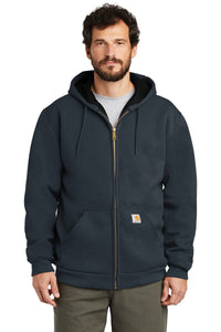 carhartt rain defender rutland thermal-lined hooded zip-front sweatshirt ct100632 new navy