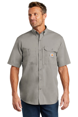Company Logo Carhartt Force Ridgefield Solid Short Sleeve Shirt CT102417 Asphalt