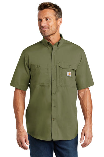 Company Logo Carhartt Force Ridgefield Solid Short Sleeve Shirt CT102417 Burnt Olive