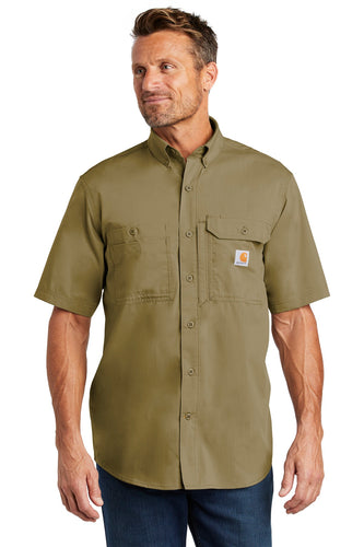 Company Logo Carhartt Force Ridgefield Solid Short Sleeve Shirt CT102417 Dark Khaki
