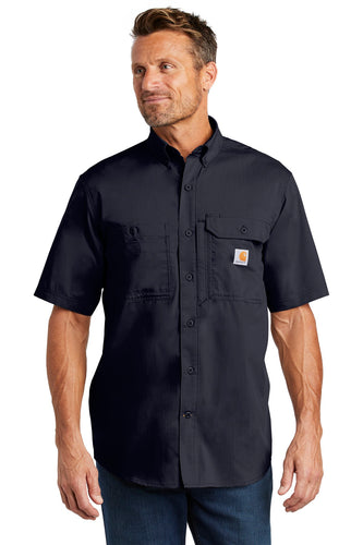 Company Logo Carhartt Force Ridgefield Solid Short Sleeve Shirt CT102417 Navy
