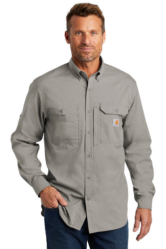 Company Logo Carhartt Force Ridgefield Solid Long Sleeve Shirt CT102418 Asphalt