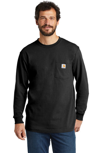 Company Logo Carhartt Workwear Pocket Long Sleeve T-Shirt CTK126 Black