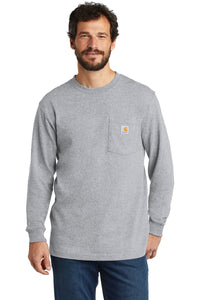 Company Logo Carhartt Workwear Pocket Long Sleeve T-Shirt CTK126 Heather Grey