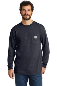 Company Logo Carhartt Workwear Pocket Long Sleeve T-Shirt CTK126 Navy
