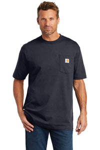 Custom Carhartt Tall Workwear Pocket Short Sleeve T-Shirt CTTK87 Navy
