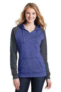 district heathered deep royal/ heathered charcoal dt296 custom logo sweatshirts embroidered