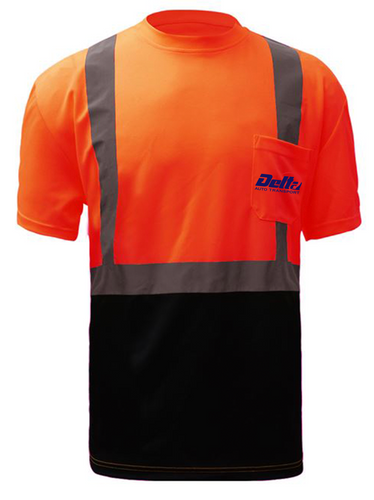 Class 2 Safety Safety T-Shirt 5112 Orange with Black Bottom [DELTA AUTO]