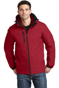 port authority rich red/ black j332 jackets with company logo