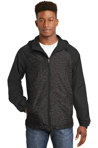 Sport-Tek Black Heather/ Black JST40  company embroidered jackets
