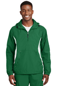 Sport-Tek Kelly Green/White JST63 jacket company logo