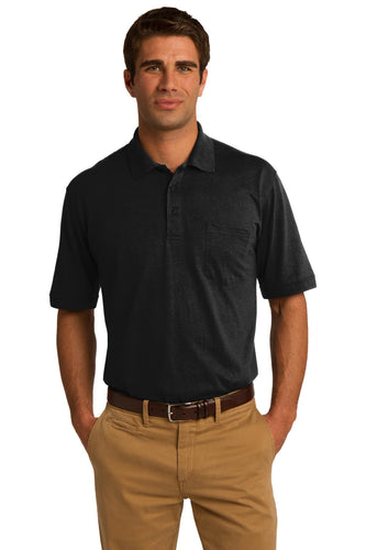 port & company jet black kp55p polo shirts with logos
