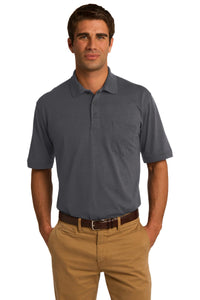 port & company charcoal kp55p polo shirts with logos