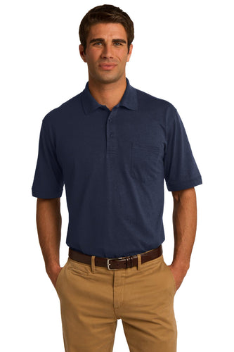port & company deep navy kp55p polo shirts with logos