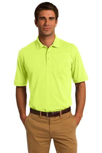 port & company safety green kp55p polo shirts with logos