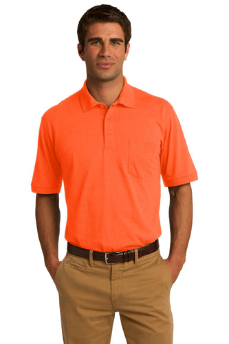 port & company safety orange kp55p polo shirts with logos