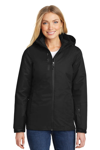 port authority black/ black l332 jackets with company logo