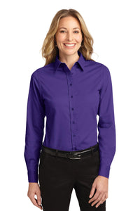 Port Authority Purple/Light Stone L608 custom embroidered shirts