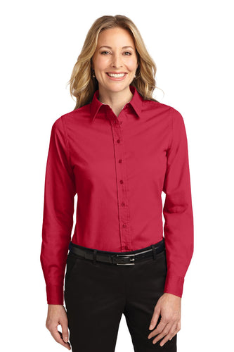 Port Authority Red/Light Stone L608 custom embroidered shirts