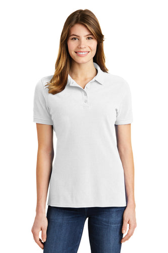 port & company white lkp1500 custom embroidered polo shirts