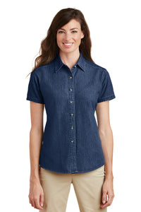 Port & Company Ink Blue* LSP11 custom embroidered shirts