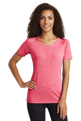 Sport-Tek Ladies PosiCharge Tri-Blend Wicking Scoop Neck Raglan Tee
