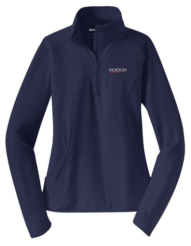 Sport-Tek Ladies Sport-Wick Stretch 1/2-Zip Pullover LST850 True Navy [Horton Group]