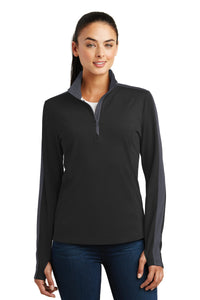 Sport-Tek Ladies Sport-Wick Textured Colorblock 1/4-Zip Pullover