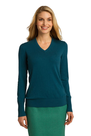 Port Authority Ladies V-Neck Sweater Moroccan Blue LSW285