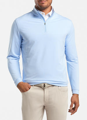 peter millar cottage blue ME0EK40E perth mini stripe stretch loop terry quarter zip with custom logo pullovers
