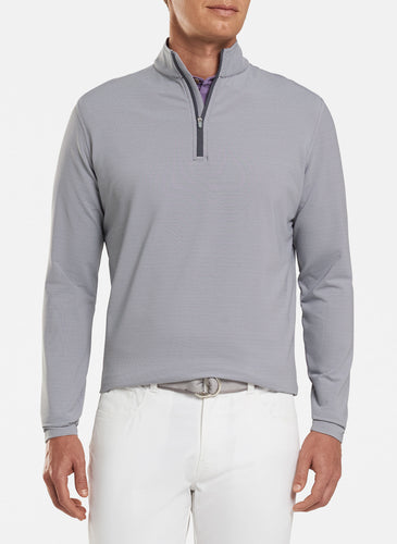 peter millar iron ME0EK40E perth mini stripe stretch loop terry quarter zip with custom logo pullovers
