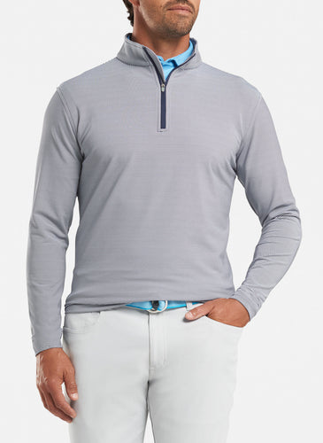peter millar navy ME0EK40E perth mini stripe stretch loop terry quarter zip with custom logo pullovers