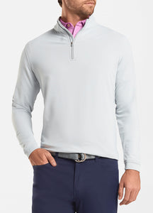 peter millar british grey ME0EK40 perth stretch loop terry quarter zip with custom logo pullovers