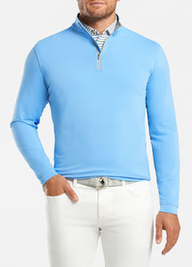 peter millar cottage blue ME0EK40 perth stretch loop terry quarter zip with custom logo pullovers