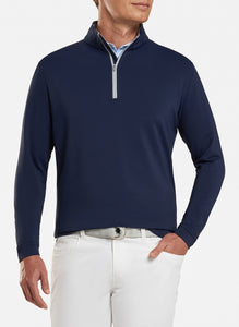 peter millar navy ME0EK40 perth stretch loop terry quarter zip with custom logo pullovers