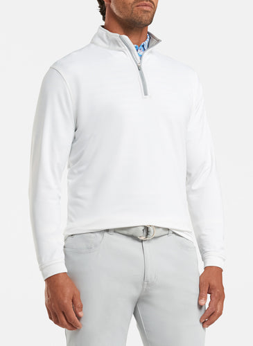 peter millar white ME0EK40 perth stretch loop terry quarter zip with custom logo pullovers